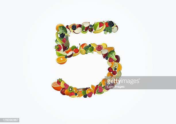 Various fruits forming the number 5