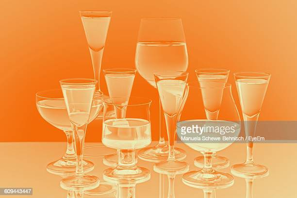 Various Glasses With Drinks On Table