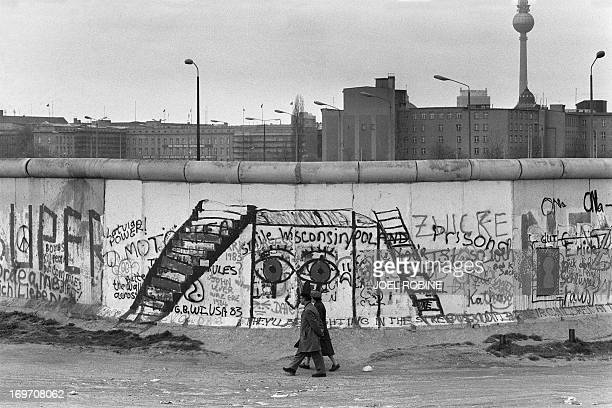Various graffiti are painted on the Berlin Wall on the West Berlin side on April 29 1984 The Berlin wall built by the East German government to seal...
