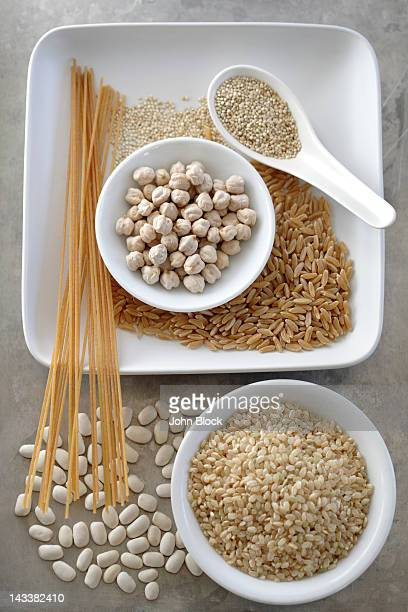 Various grains, pasta and beans
