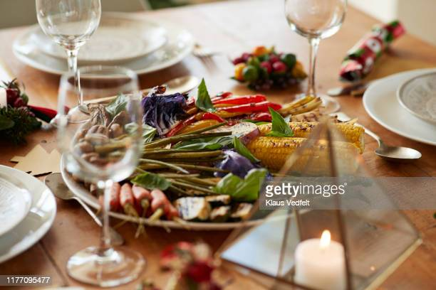 various grilled vegetables served on table at home - 盛り皿 ストックフォトと画像