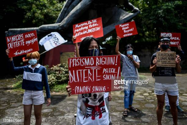 Various groups protest during the birthday of late president and dictator Ferdinand Marcos in Quezon City, Philippines on September 11, 2020.