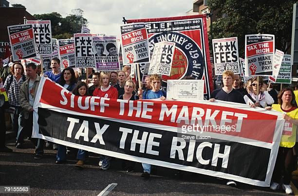 Various groups with banners and placards lobby about taxes and higher education fees in Bournemouth during the Labour Party Conference, September...