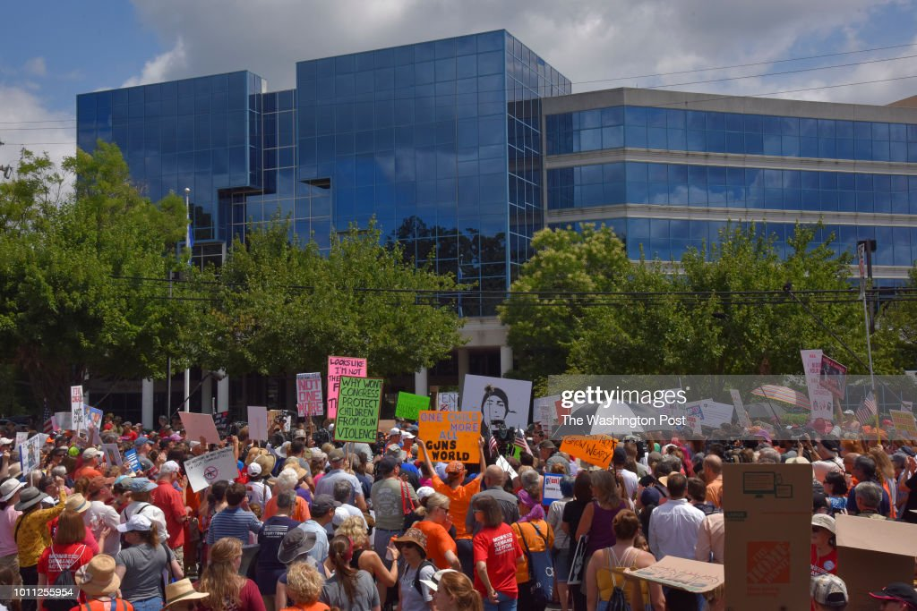 Various gun control organizations - including The National Organization For Change, March For Our Lives, and Team Enough - hold a demonstration on the street in front of the National Rifle Association (NRA) Headquarters in FairFax, VA, on Saturday, August 4, 2018, in Fairfax, VA. The 'March On NRA' is an event to highlight the battle faced by people of the United States as they seek to live in a world without the fear of gun violence. Included are organizations such as Youth Over Guns, WeCanVote, NoRA, Women's March, Gays Against Guns, MoveOn, Giffords Courage Fellowship, Guns Down, Families Belong Together and Youth Empower.