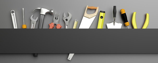 Various Hand  tools. 3d illustration 1168569647