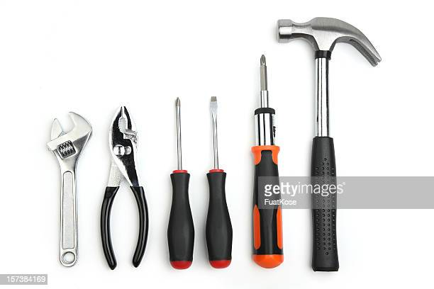 various hand tools with a white background  - screwdriver stock pictures, royalty-free photos & images