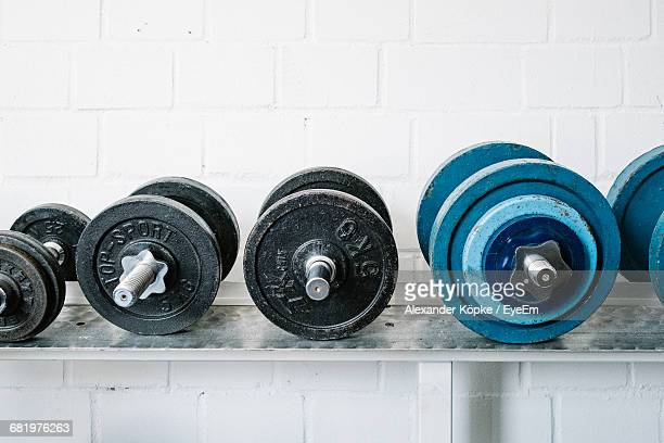 Various Hand Weights At Gym