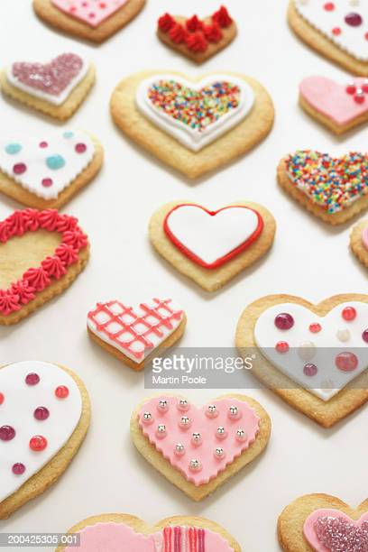 Various iced heart shaped biscuits