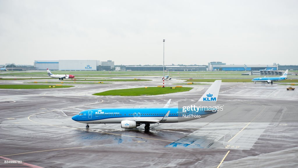 Various images at Schiphol Amsterdam Airport in Amsterdam, Netherlands, on 18 August 2017. Schiphol airport is massively crowded over the month. Airlines KLM and Transavia are advising passengers to arrive at the airport three hours before their flights, also for flights within Europe, if they want to avoid missing it. Schiphol advises travelers to listen to their airlines. From the Schiphol terrace hundreds of friends and relatives are watching how the planes taking off.