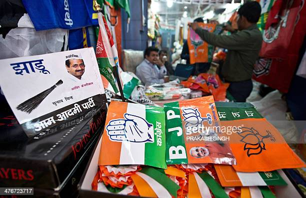 Various Indian national and regional political party flags and election campaign materials are seen for sale at a wholesale shop in New Delhi on...
