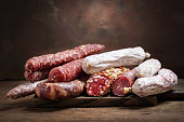 Various kind types of salami and sausages