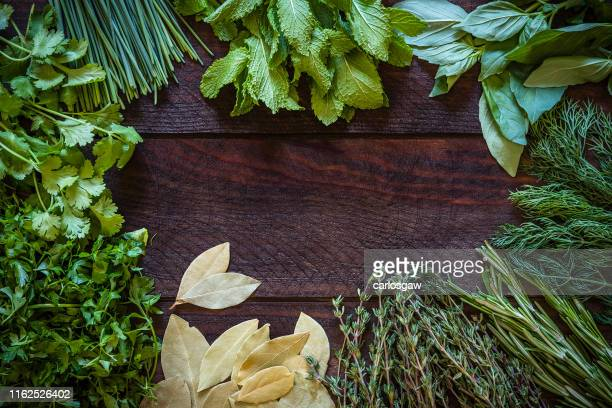 various kinds of aromatic herbs frame on wooden table - erbe aromatiche foto e immagini stock