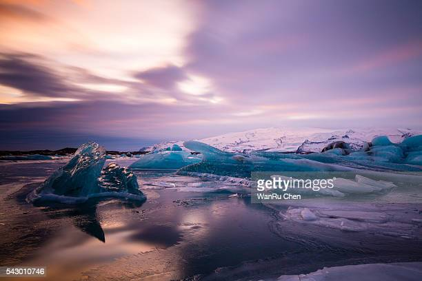 Various kinds of ice at jokulsarlon glacier lagoon