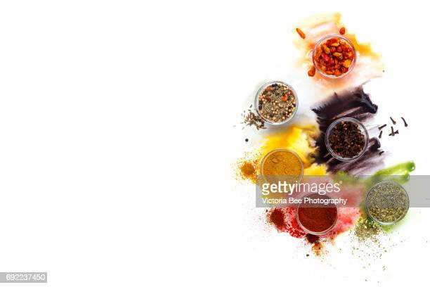 various kinds of spices. creative food shot with watercolor. - spices stock photos and pictures