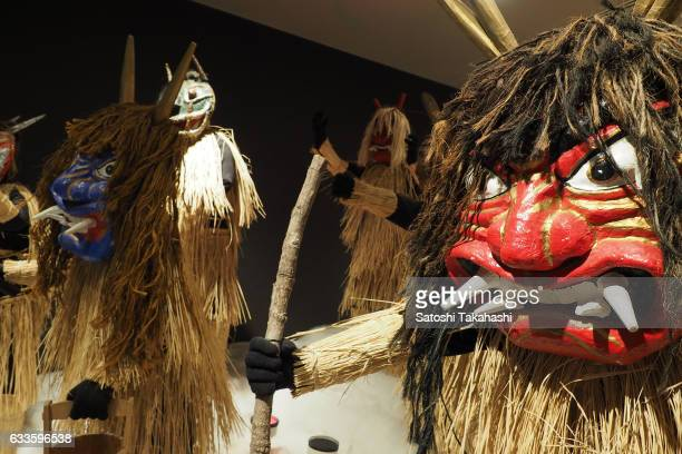 Various kinds of traditional Namahage masks and costumes have been exhibited in the Namahage museum