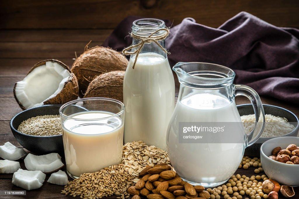 Various kinds of vegan milk : Stock Photo