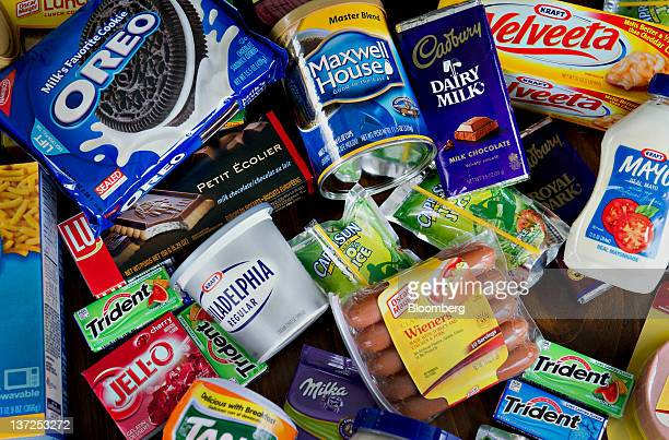 Various Kraft Foods Inc snack and grocery products are arranged for a photograph in Tiskilwa Illinois US on Tuesday Jan 17 2012 Kraft Foods Inc the...