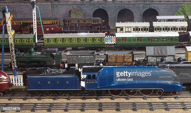 Various locomotives and train carriages coaches Empire of India Toy and model museum Brighton East Sussex England UK on