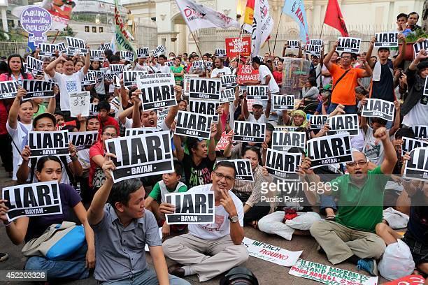 Various militant group call for the resignation of President Benigno 'Noynoy' Aquino III in Plaza Miranda Quiapo Manila City due to the allegedly...