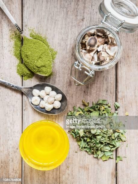 various moringa products - moringa oleifera stock photos and pictures