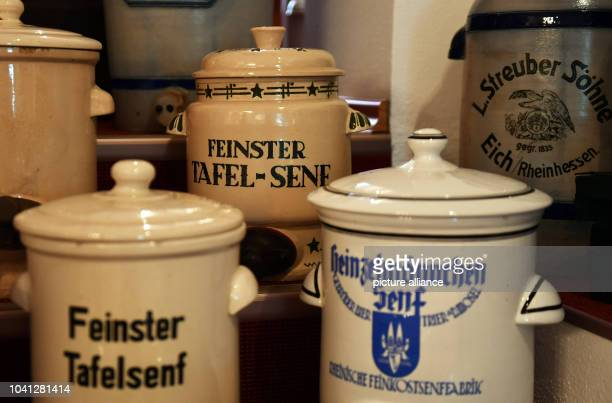 Various mustard and vinegar pots can be seen in the Bautzener Senfladen Manufactory and Museum in BautzenGermany 01 August 2016 The site tells the...