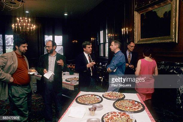 Various Northwestern University faculty mingle during a school function on campus Evanston Illinois 1990s