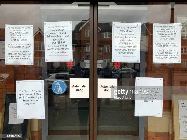 Various notices at Aylesbury Methodist Church advise worshippers of closures to the cafe and that church services will be available via live...