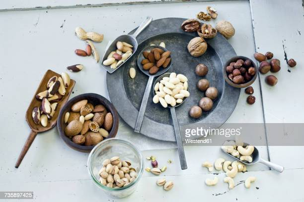 various nuts - brazil nut stock photos and pictures