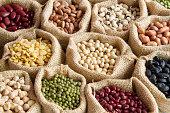 various of legumes in sack bag