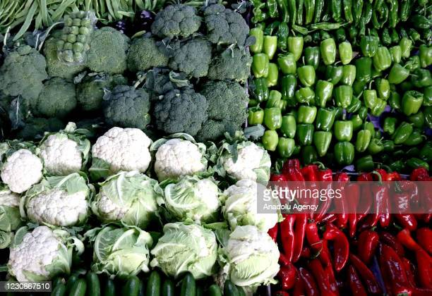 Various of vegetables are seen in Mersin, Turkey on Janaury 18, 2021. Mersin, which made 653 million USD of the total 2,7 billion USD of fresh fruit...