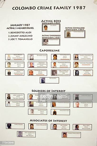 Various organized crime flow charts presented into evidence at the trial of Roy Lindley DeVecchio October 15 2007 in the Brooklyn borough of New York...