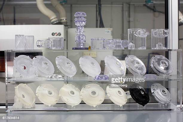Various parts for Dyson vacuum cleaners sit on display at the 3D Printing Lab inside the Dyson Ltd campus in Malmesbury UK on Wednesday Oct 5 2016 In...