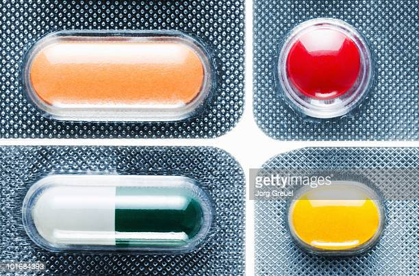 Various pills in blister packs