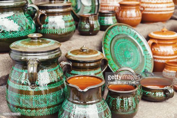 various pots for sale - lithuania stock pictures, royalty-free photos & images