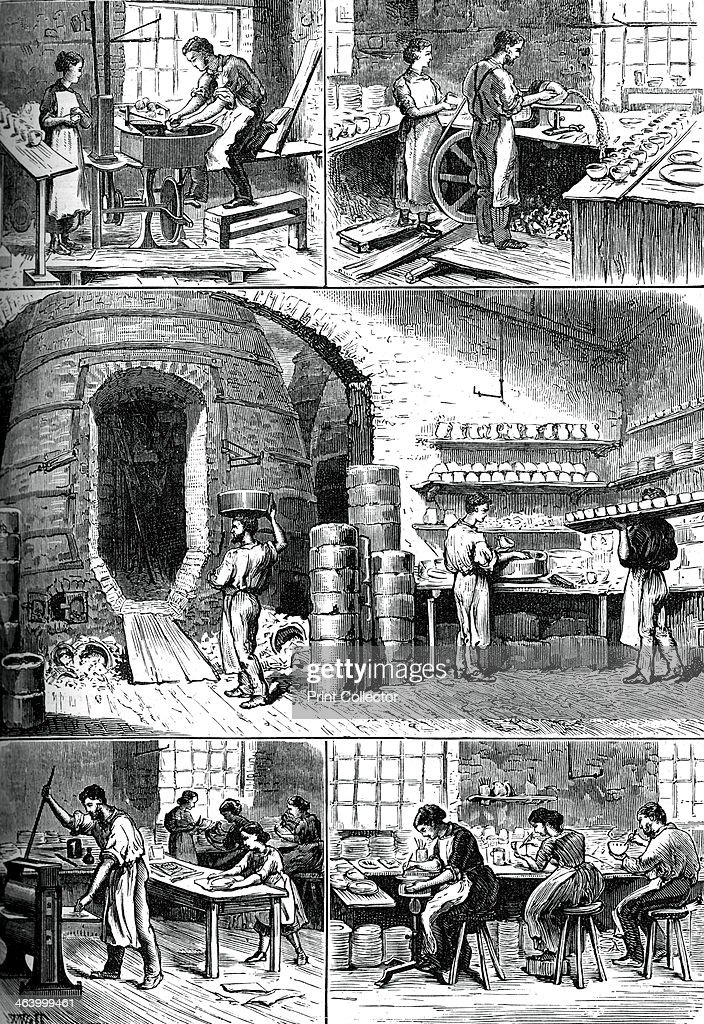 Various pottery processes, c1880. The thrower, the turner, the biscuit oven, printing, and ornamenting. A print from Great Industries of Great Britain, Volume I, published by Cassell Petter and Galpin, (London, Paris, New York, c1880).