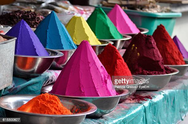 various powder colors in market for sale - bangalore stock pictures, royalty-free photos & images