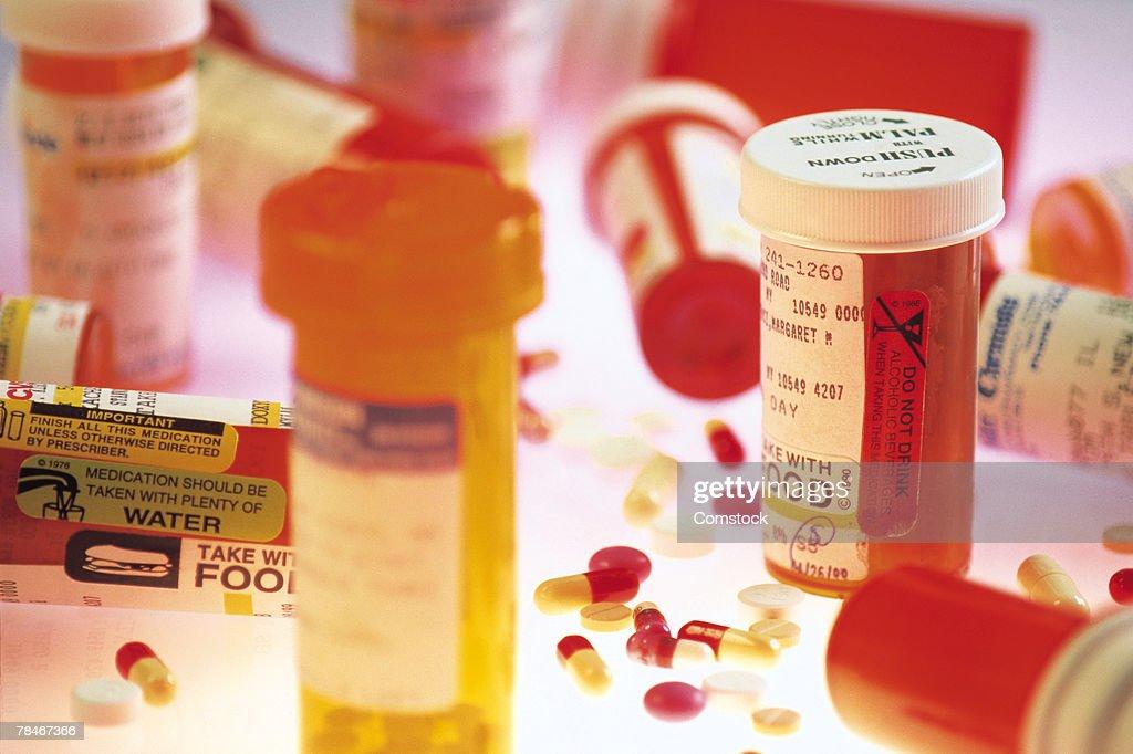Various prescription bottles and pills : Stock Photo