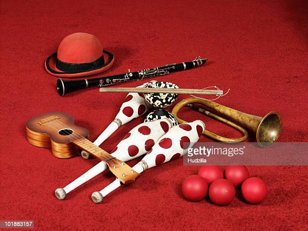 Various props of a busker or street performer
