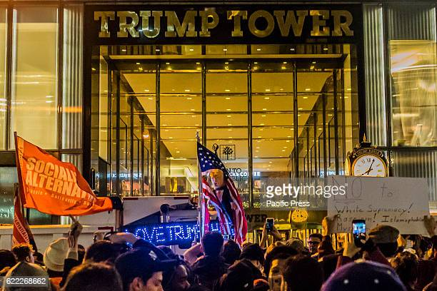 Various protests gathered in and around Manhattan and eventually marched through the streets wending their way to Trump Tower Groups including Black...
