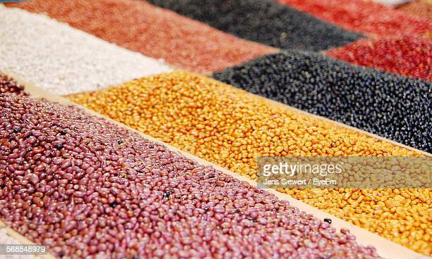 Various Pulses For Sale At Market Stall