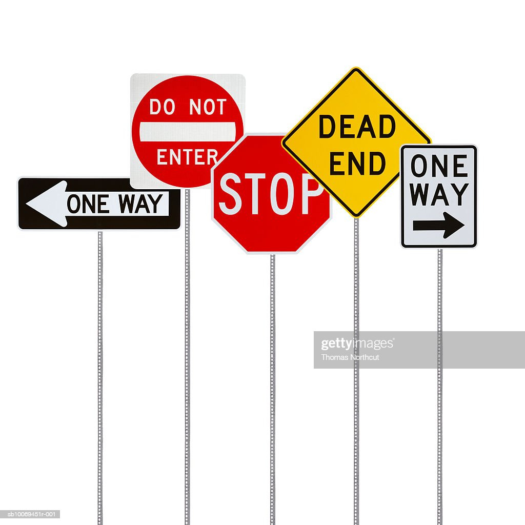 Various Road Signs On White Background Foto De Stock Getty Images