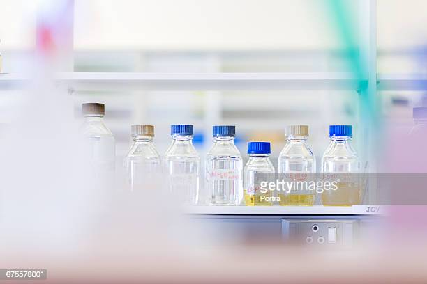 Various samples in glass bottles on table at lab