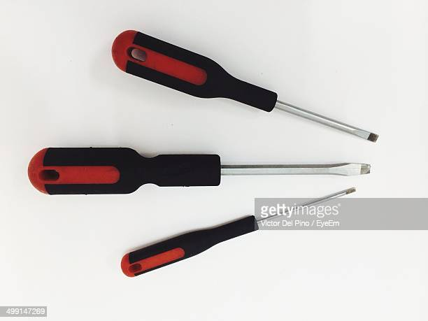 Various screwdrivers against white background