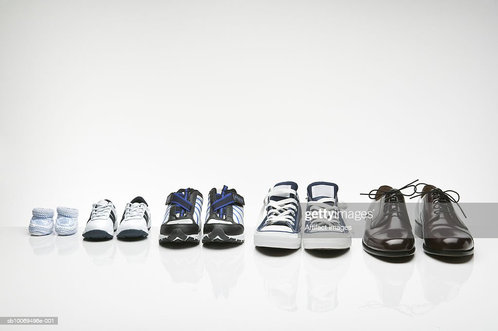 Various shoes in a row : Stock Photo