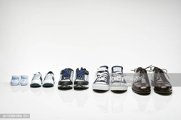 Various shoes in a row