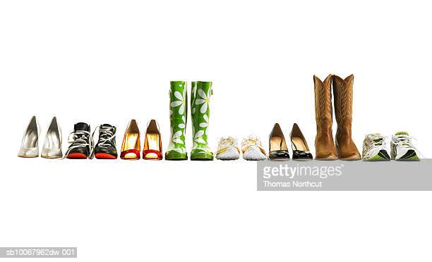 various shoes in a row, studio shot - in a row stock pictures, royalty-free photos & images