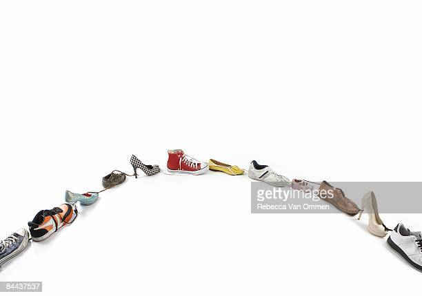 various shoes tide together.