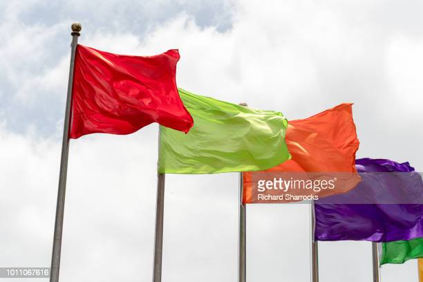 various single solid-colour flags - flagpole stock pictures, royalty-free photos & images