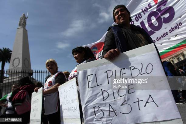 Various social organizations held a new national day of struggle with popular pots in Plaza de Mayo in Buenos Aires Argentina on September 11 2019