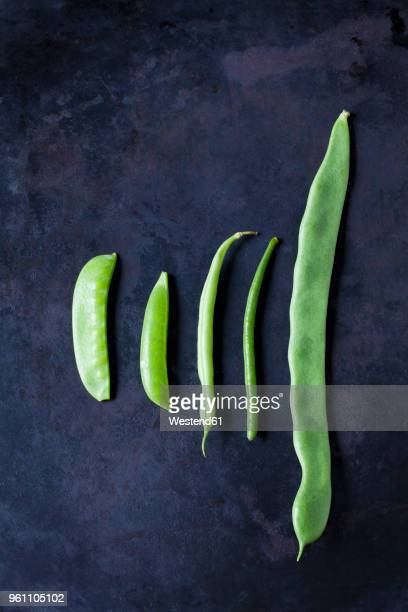 various sorts of beans and peas on dark metal - petit groupe d'objets photos et images de collection